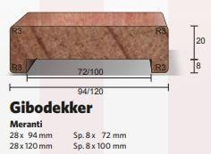 Gibodekker Gibolat Meranti Gegrond 028 x 094 mm