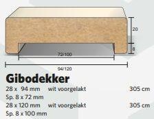Gibodekker Gibolat MDF wit 028 x 120 mm