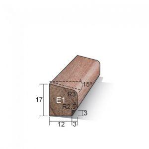 Meranti Glaslat Gegrond 17 x 15 mm E1