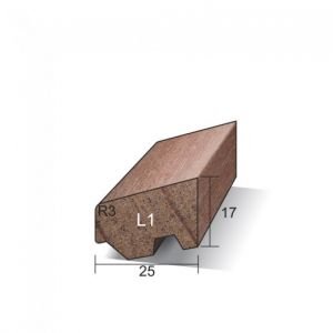 Meranti Ventilerende Glaslat Gegrond 17 x 25 mm L1